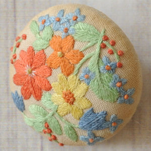 vintage embroidery embroidered floral brooch pin